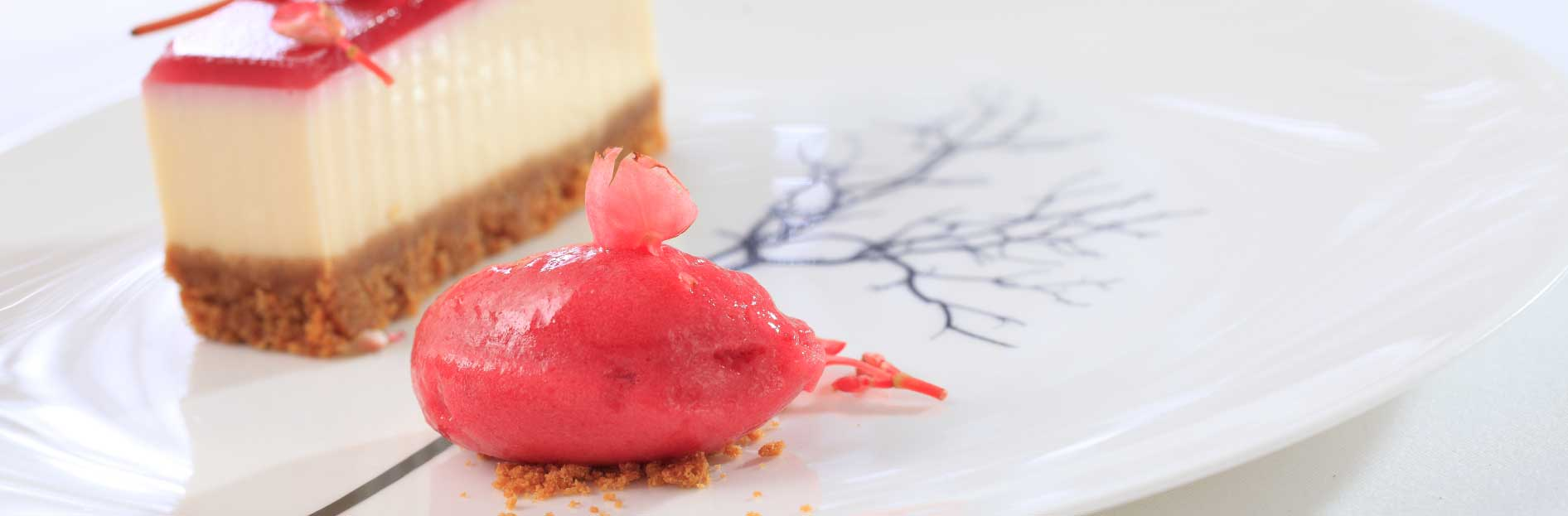 Toffee apple and ginger cheese cake with blackcurrant sorbet
